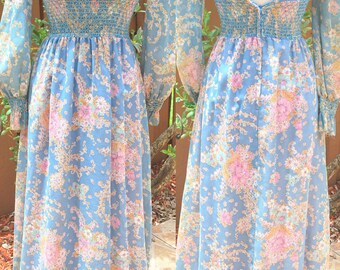 Vintage Gay Gibson 70s Blue & Pink Prairie Festival Hippie Boho Chic Dress SMALL