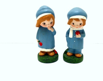 Chalkware Figurines / Vintage Boy and Girl Blue Chalk Ware Figurines