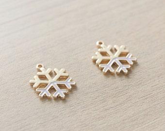 2 pcs of Pastel Lavender Christmas Snowflake Enamel Gold Plated Zinc Alloy Pendants - 20 mm