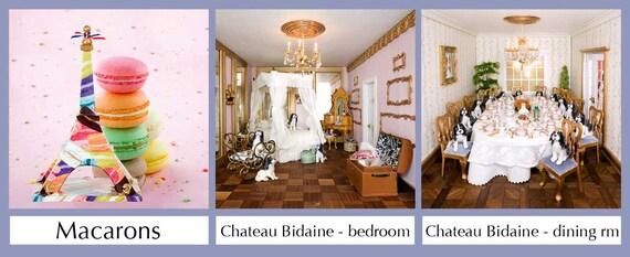 14x14 canvas - Eiffel Tower & Chateau Bidaine miniatures photo print - choose from 26 designs
