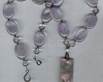 Lavender Sense - Tourmaline in Quartz, Amethyst, Rock Quartz, Garnet, Sterling Silver Necklace February Birthstone Valentine Gift