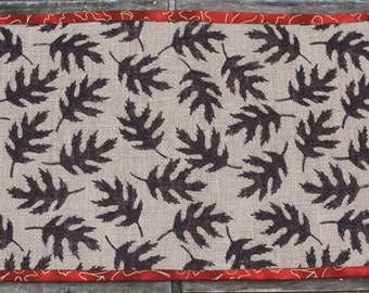 12 x 25 Burlap Table Runner Centerpiece Fall Leaves Reversible