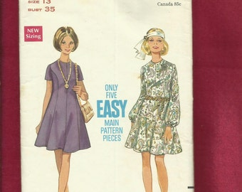 1960's Butterick 5240 Sweet Flared Princess Seam Dresses with Jewel Necklines Size 13 Junior