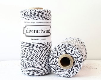 Black Bakers Twine - 240 Yards. Divine Twine, Black and White Twine. Black String, Bakers Twine. Baby Shower, Wedding, DIY Craft Supplies