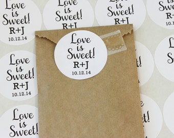 Love is Sweet Stickers, Wedding Favor Stickers, Personalized Stickers, Round Stickers, Envelope Seal, Favor Bag Sticker