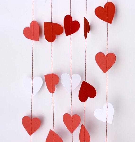 Valentines Day Decor, Valentine Garland, Wedding Garland, Heart Banner, Valentine Photo Prop, Paper Heart Garland, Red Heart Garland, Hearts