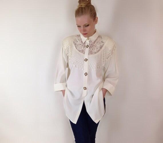Vintage Lace Blouse Cream White Long Sleeve Shirt Tunic