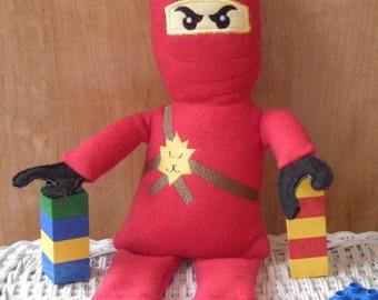 Block Ninja -   Plush Toy. Huggable -  Stuffed, embroidered fleece toy - Kai - Lloyd- Jay - Zane-  Cole