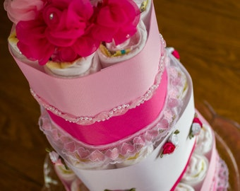 Diaper Cake for Baby Girl - Small 3 Tier Diaper Cake for a Girl - It's a Girl - Baby Shower - Rose Diaper Cake - Diaper cake Idea