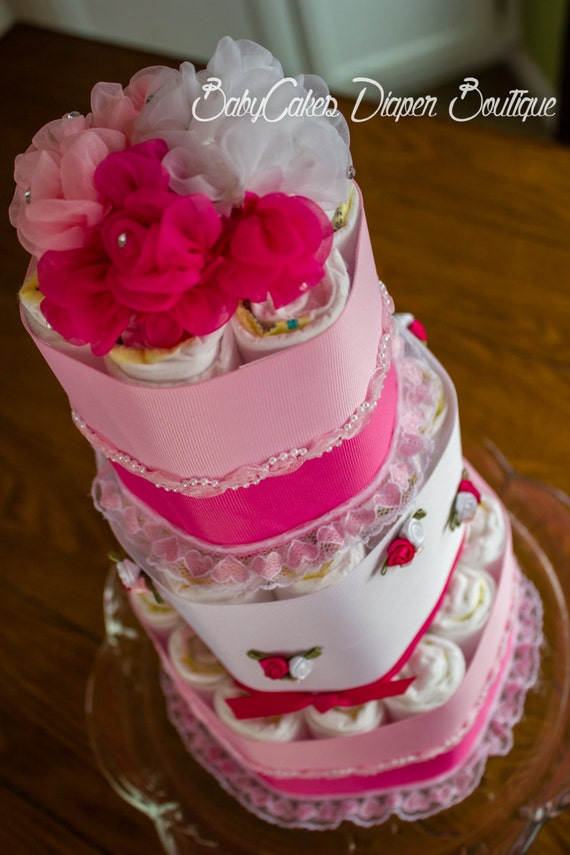Diaper Cake for Baby Girl - Small 3 Tier Diaper Cake for a Girl - It's a Girl - Baby Shower - Rose Diaper Cake - Diaper cake Idea