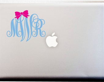 MONOGRAM DECAL with Bow // 5 inch Interlocking Script Decal Cutie Decal Bows