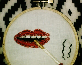 Red Lips Smoking a Cigarette Embroidery Hoop Art