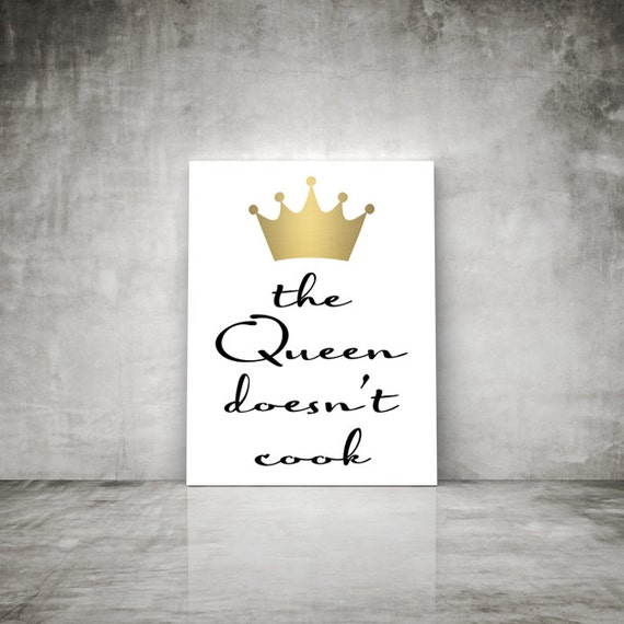 Black White And Gold Wall Decor : The queen doesn t cook wall art print gold black and