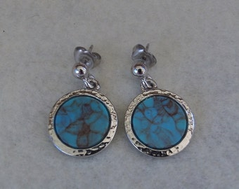 Sarah Coventry Blue Moon Pierced Earrings 7768  Vintage, Turquoise, Silvery