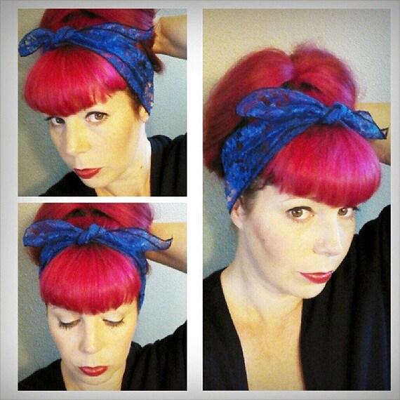Royal Blue Lace WIDE Headwrap Bandana Hair Bow Tie 1950s