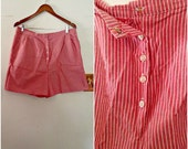 1960s Plus Size Pinup Red Chambray Shorts Vintage // extra large, 2x, 14 16 18 striped summer sixties