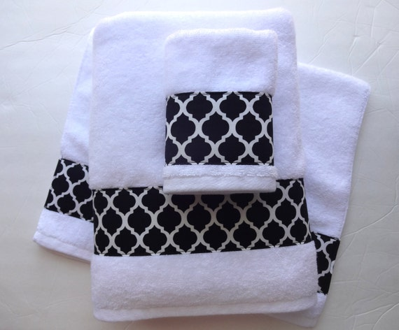 set of 3 towels black bath towels black and white black bathroom decorated towels hand