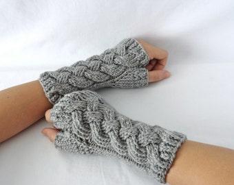 Grey Cable Knit Merino Fingerless Gloves, Fingerless Mittens, Wool Wrist Warmers, Half Finger Gloves, Handmade Knitwear, Grey Arm Warmers