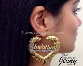 """14k Gold Overlay GP heart bamboo 1.5"""" any name earring/PERSONALIZED/pair- by LoveJewelrybyJenny"""