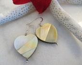 Golden lip shell earrings, Heart earrings, Shell heart earrings, Shell earrings, Sterling silver earrings, Valentine earrings