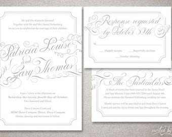 "Whimsy Calligraphy ""Patricia"" Wedding Invitation Suite - Romantic Modern Classic Script Invitations - Digital Printable / Printed Invite"