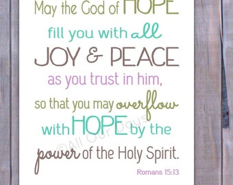 Hope, Joy, and Peace // Romans 15:13 //Olive, Aqua, Purple // INSTANT DOWNLOAD // Wall Art Print