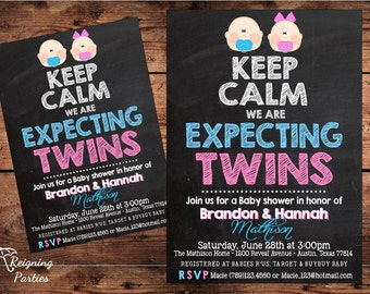 Keep Calm Twins Invitation - Twins Baby Shower - Triplets Baby Shower - Digital