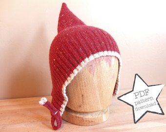 Pixie Hat sewing pattern, recycle your old sweater! Elf hat: warm and adorable. Easy DIY gift. Sizes newborn-adult.