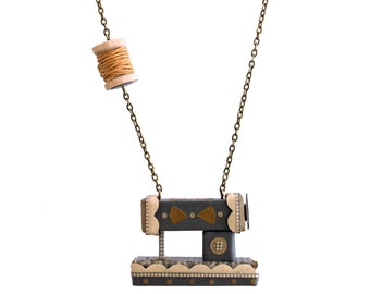 Vintage Style Sewing Machine Necklace with Mustard Thread on Spool-Ecofriendly Jewelry-Non-Toxic Paper Necklace-ByBeep