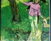 Green illustration couple on nature hike forest Ward Brackett art 1960 Clipping