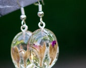 Geranium Flower Bud Resin Earrings - real dried flowers