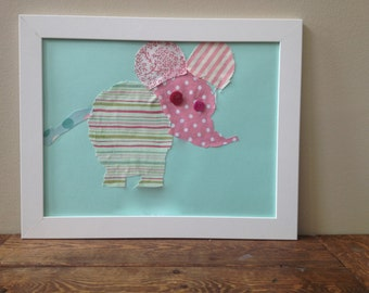 Framed Fabric Elephant Picture
