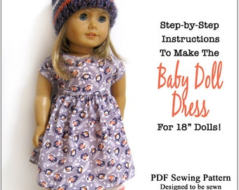 Pixie Faire 123 Mulberry St Baby Doll Dress Doll Clothes Pattern for 18 inch AG Dolls - PDF