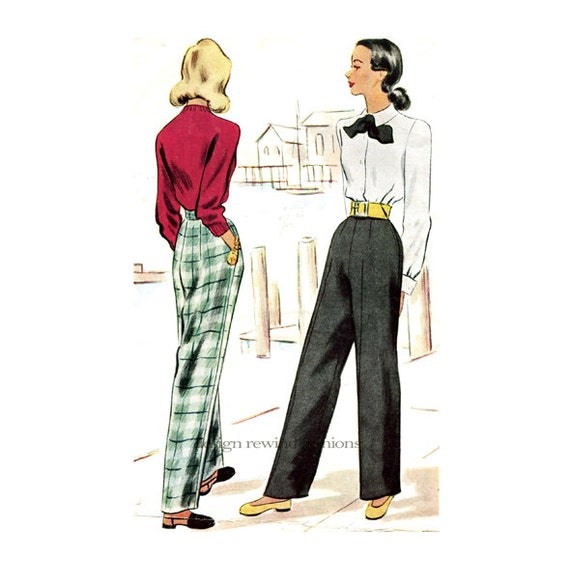 1940s Women S Pants Pattern Swing Era Slacks Straight Leg