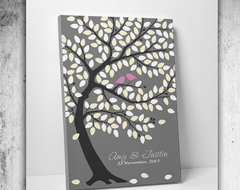 Wedding Tree Guest Book - Guest Book Tree - Poster Wedding Guestbook Tree - 100-150 Signatures - Art Gallery Wrapped Canvas - A100-150