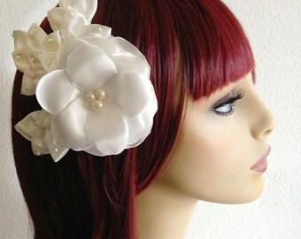 On SALE , Ivory Wedding Fascinator, Leaf Hair Piece, Bridesmaid Satin Flower Hair Clip, Wedding Hair Accessory, Bridal Headpiece