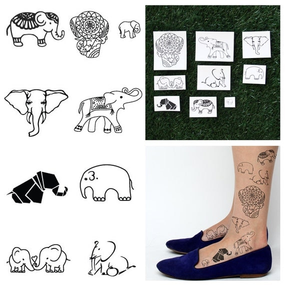 Elephants temporary tattoo pack set of 18 for Temporary elephant tattoo