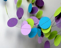 Mermaid party decoration - Purple, lilac, blue turquoise and lime green - Birthday decoration - Paper garland - Mermaid birthday