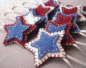10 Rustic star ornaments, primitive decor, country decorations, felt folk art, patriotic decor, americana, maroon country blue cream