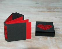 Black Matchbox Notebook with Red Embroidered Heart and bound with Xses