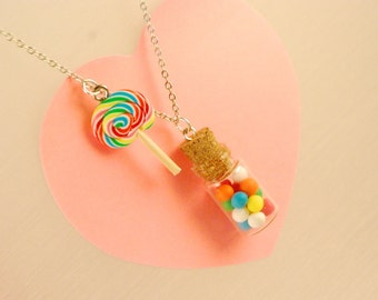gumball jar necklace -lollipop necklace- food jewelry