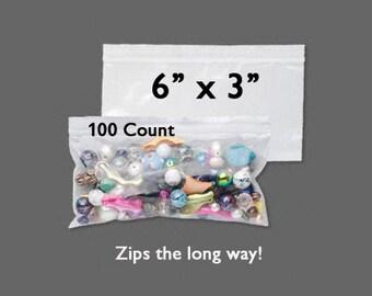 "Clearance 30% Off - Plastic Bags - Zipper Bag - 6"" x 3"" - Zip Close Bags - Zip Bag - Storage Bag - Resealable Bag - 100 COUNT - Side Zip Bag"