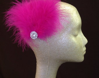 Hot Pink Feather Fan Hair Accessory