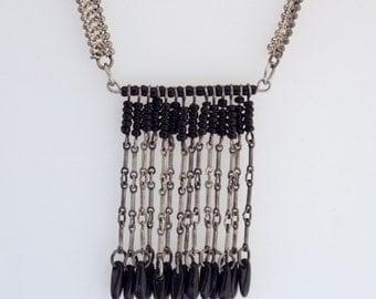 Vintage Fringe - Silver & Black - Upcycled Necklace