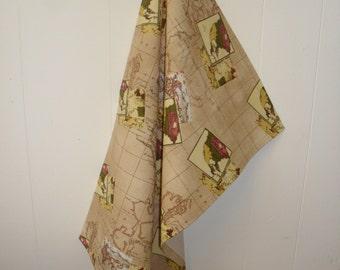 Beige Atlantic Ocean Cotton Tea Towel. T Towel.  World Map. Item No. LDC0022