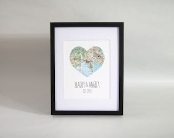 Personalised Couple Map Heart Print 3 Locations
