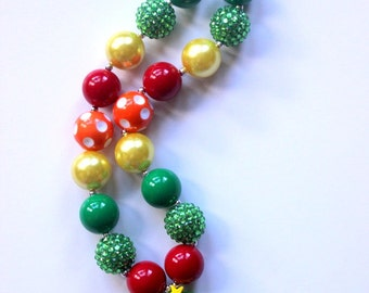 Christmas bubblegum chunky necklace for girls Christmas tree pendant necklace Tacky ugly Christmas sweater party necklace Christmas gift
