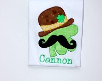 boys st patricks day shamrock shirt Mustache shamrock top toddler baby st patricks day one piece green gold st pattys day