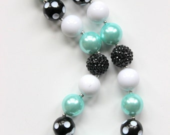 chunky bead necklace girl bubblegum necklace chunky bubblegum bead necklace aqua black white necklace rhinestone pageant  Easter necklace