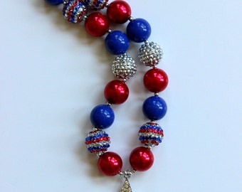 girls July 4th chunky necklace star pendant silver royal blue red white 4th of July girls chunky patriotic bubblegum bead necklace for girls